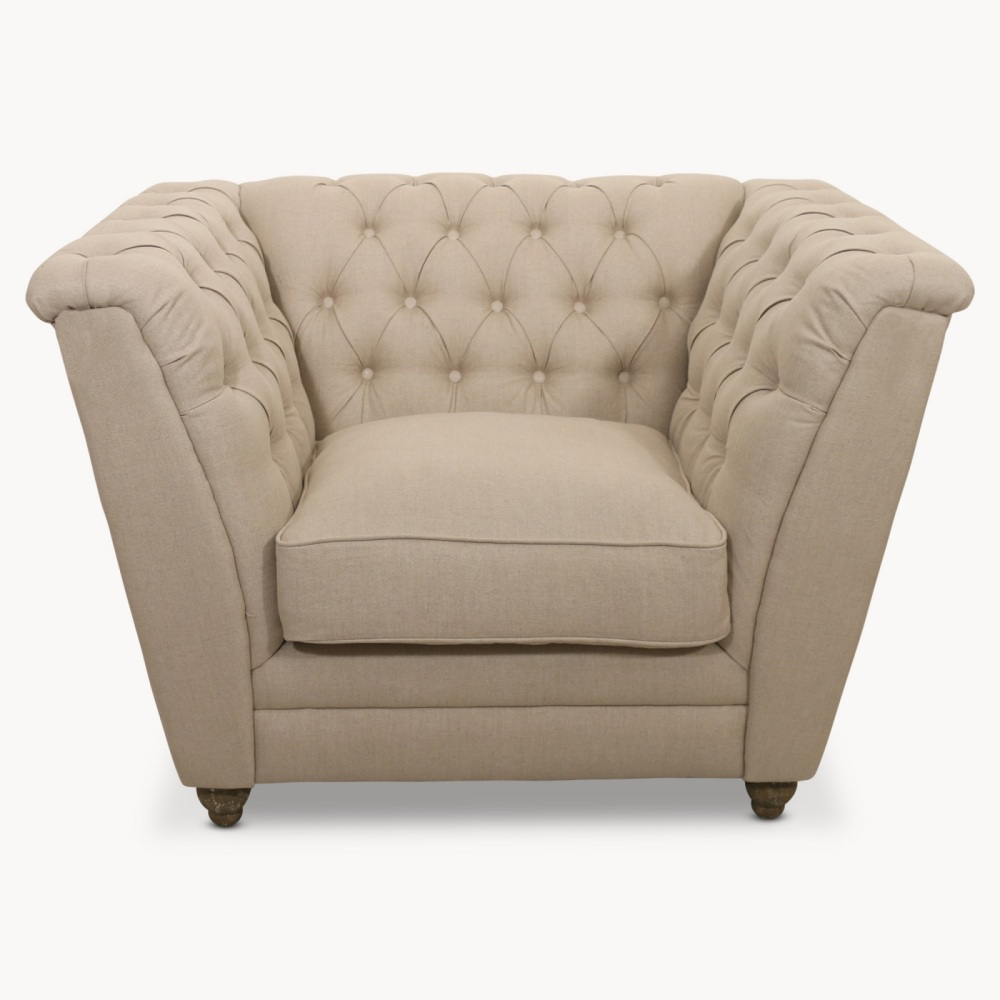 St James Beige Button Back Lounge Chair