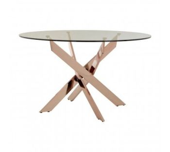 Allure Round Dining Table Clear Glass & Rose Gold