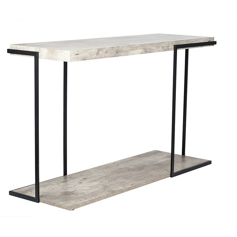 Concrete Effect MDF & Black Iron Console Table