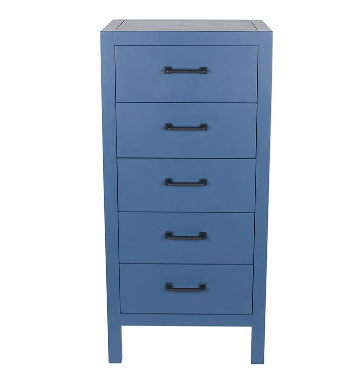 Indigo & Gunmetal Pine Wood 5 Drawer Tall Boy