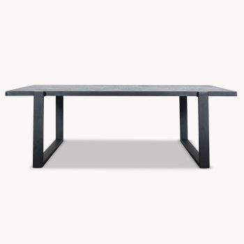 Kingswood Black Stained Oak and Metal Dining Table