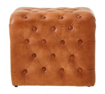 Buffalo Square Light Brown Buttoned Stool