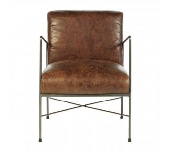 Hoxton Genuine Brown Leather Dining Chair