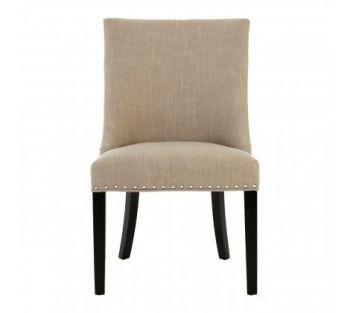 Natural Linen With Curly Back Dining Chair