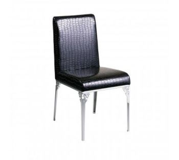 Black Crocodile Leather Effect Chair