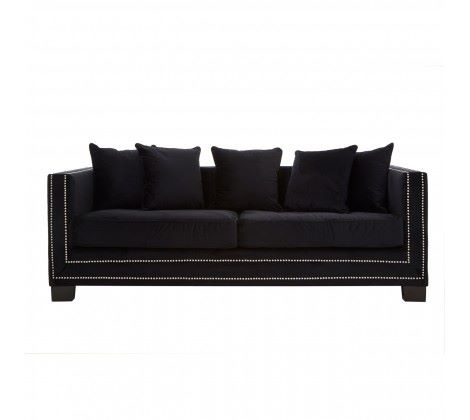 Sofia 3 Seater Black Velvet Sofa