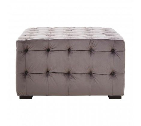 Stella Grey Velvet Button Tufted Footstool