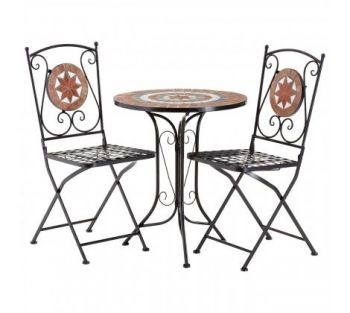 Amalfi Terracotta Mosaic 2 Chairs Table Set