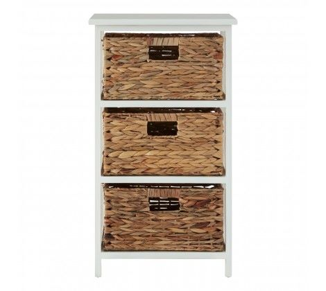 Cream Wood 3 Drawer 3 Basket Unit (PL)