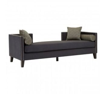 Reginy Dark Grey Velvet 3 Seat Day Bed Sofa