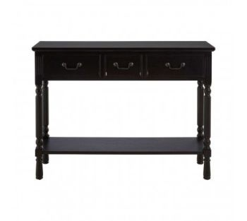 Heritage 3 Drawer Vintage Black Console Table