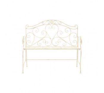 Finchwood Cream Iron Jardin Heart Bench