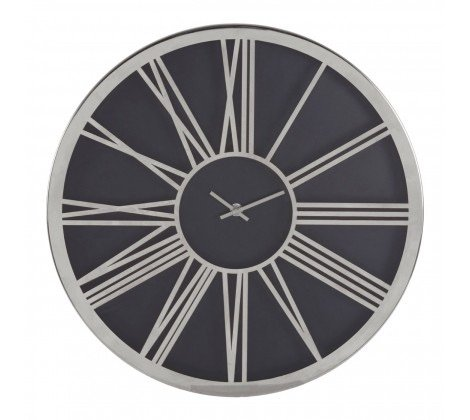 Baillie Black/Chrome Wall Clock