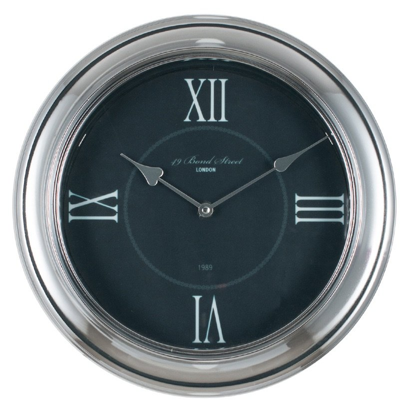Silver & Black Metal & Glass Round Wall Clock