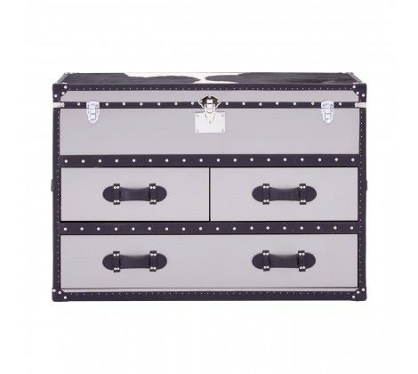 Black/White Genuine Cowhide 3 Drawer Cabinet