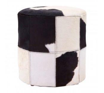Black/White Genuine Cowhide Ottoman