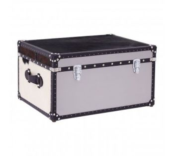 Black/White Genuine Cowhide Storage Trunk
