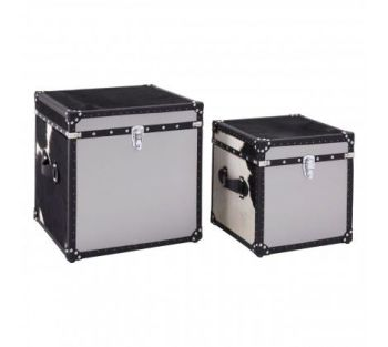 Black/White Genuine Cowhide Storage Trunk Set