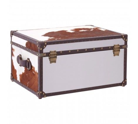 Brown/White Genuine Cowhide Storage Trunk