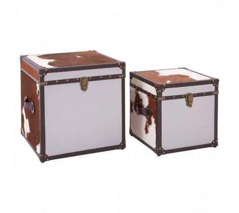 Brown/White Genuine Cowhide Storage Trunk Set