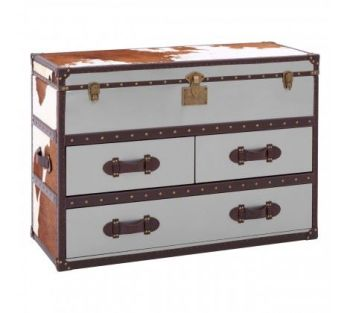 Brown/White Genuine Cowhide 3 Drawer Cabinet