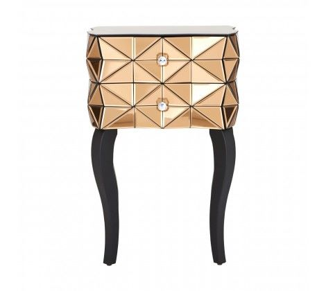 Soho 2 Drawer Mirrored Side Table