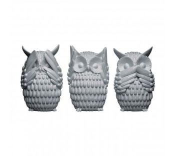 Owls Set of 3 - see no evil, hear no evil and speak no evil