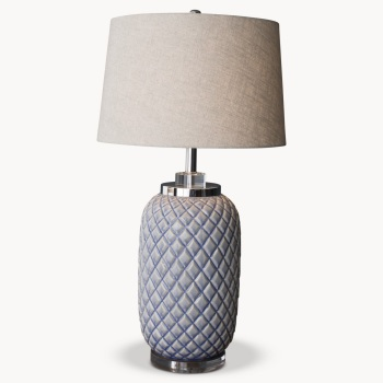 Clifton Pineapple Table Lamp with Light Grey Shade