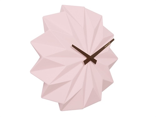 Soft Pink Origami Wall Clock