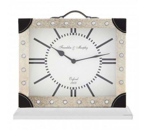 Cowhide Mantle Clock