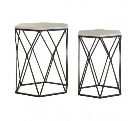 Arcana White Marble / Black Steel Side Table - Set of 2