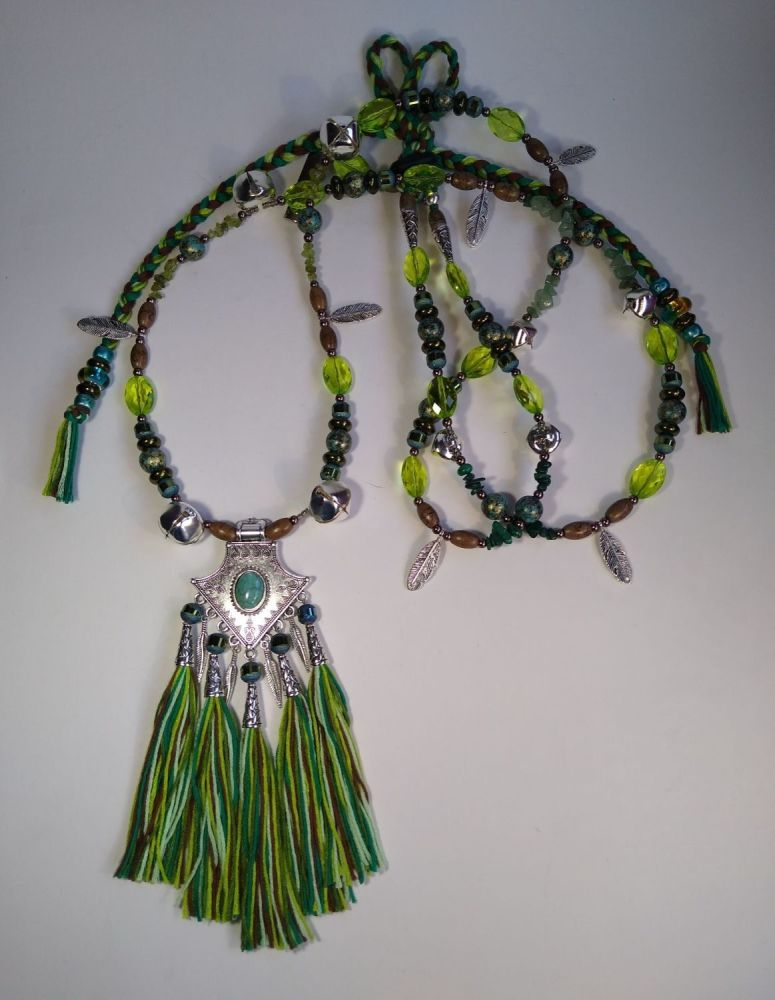 Rhythm Beads - Bohemian Woodland. Teal, Green and Brown.  Cob to Full Size.