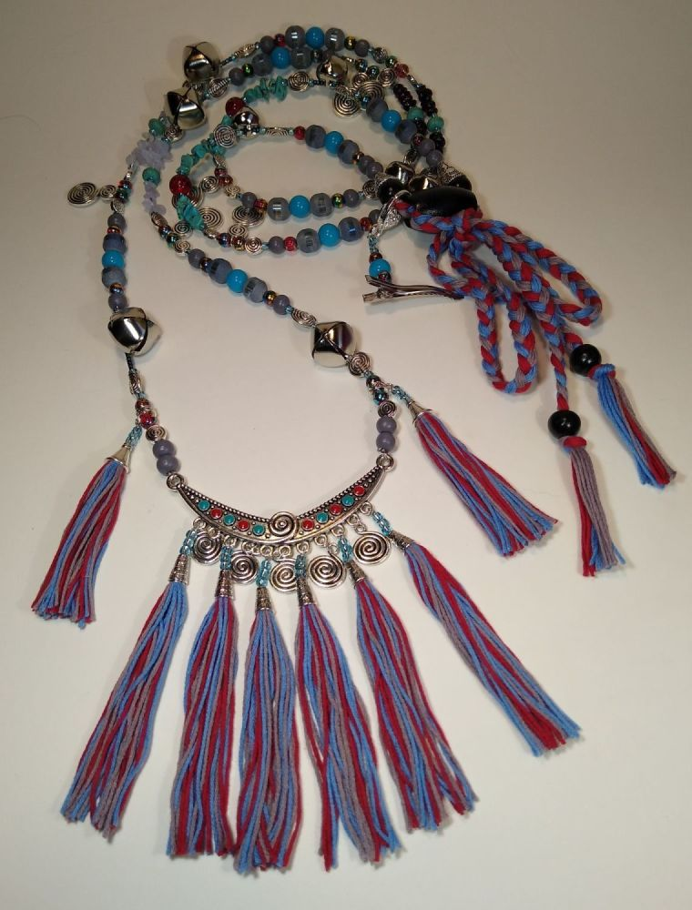 Rhythm Beads - Bohemian Spirals. Turquoise and Red. Cob to Full Size.