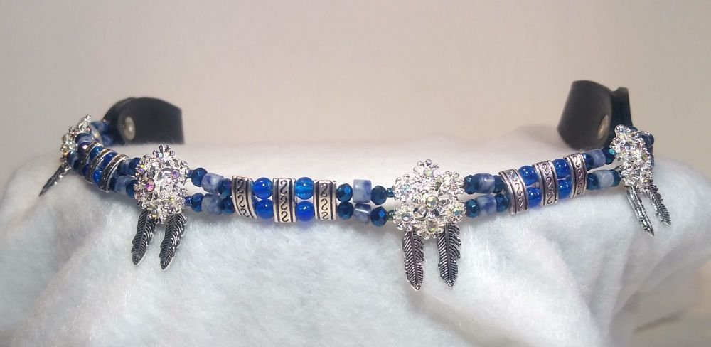 BROWBAND - INNER PEACE BLUE SODALITE. Cob Size.