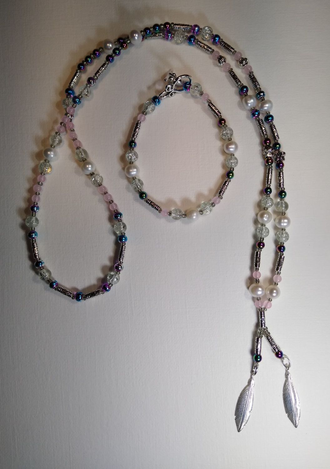 STERLING SILVER FEATHERS WITH FRESH WATER PEARLS, RAINBOW HEMATITE AND ROSE