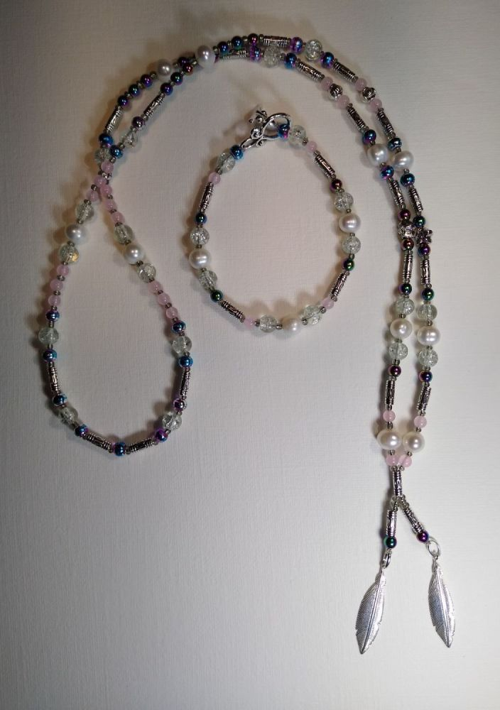 STERLING SILVER FEATHERS WITH FRESH WATER PEARLS, RAINBOW HEMATITE AND ROSE QUARTZ NECKLACE AND BRACELET.