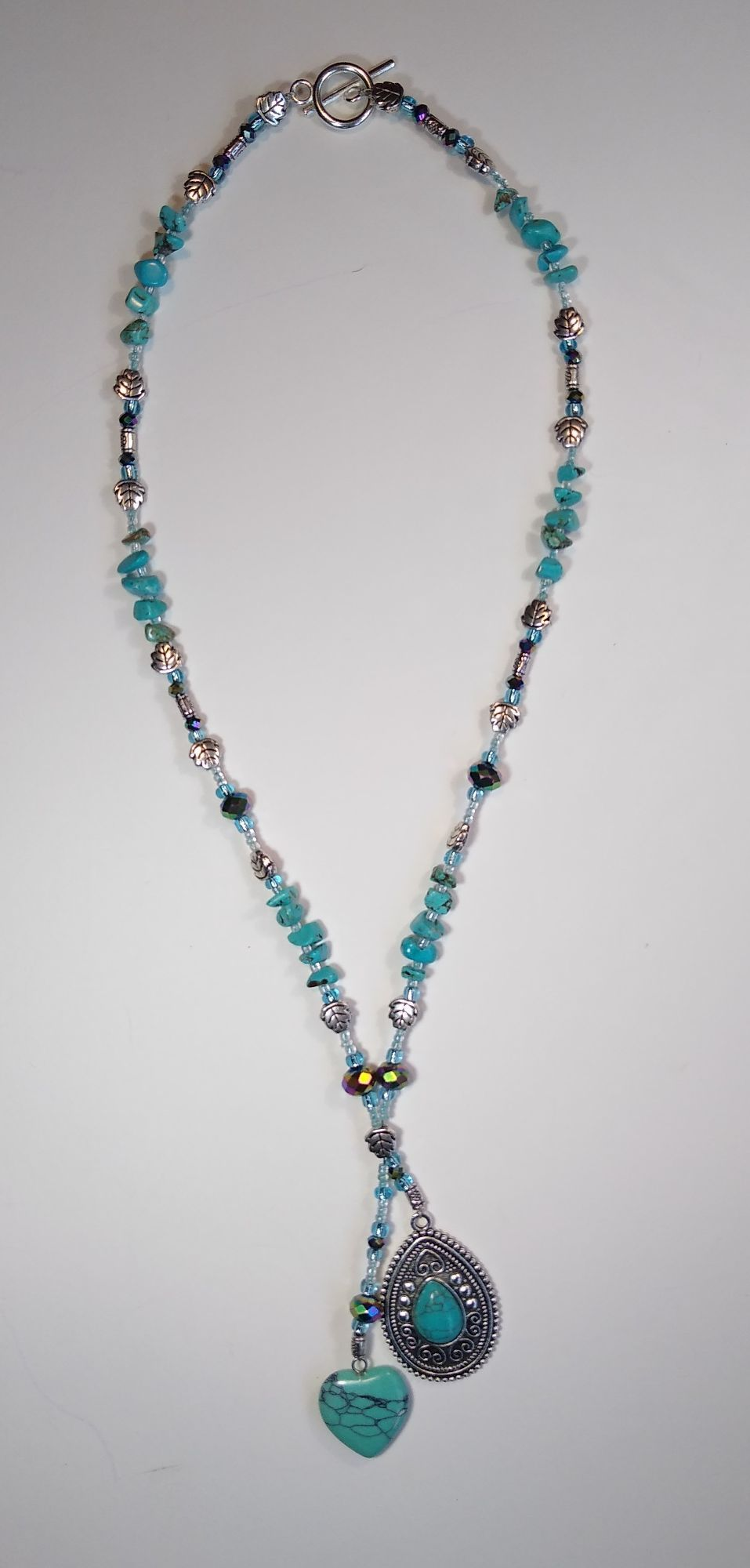 TURQUOISE HEART AND TEAR DROP CHARM NECKLACE