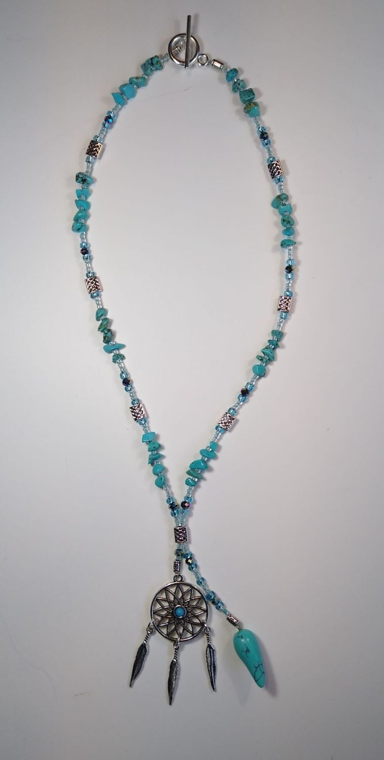 TURQUOISE DROP AND DREAM CATCHER NECKLACE