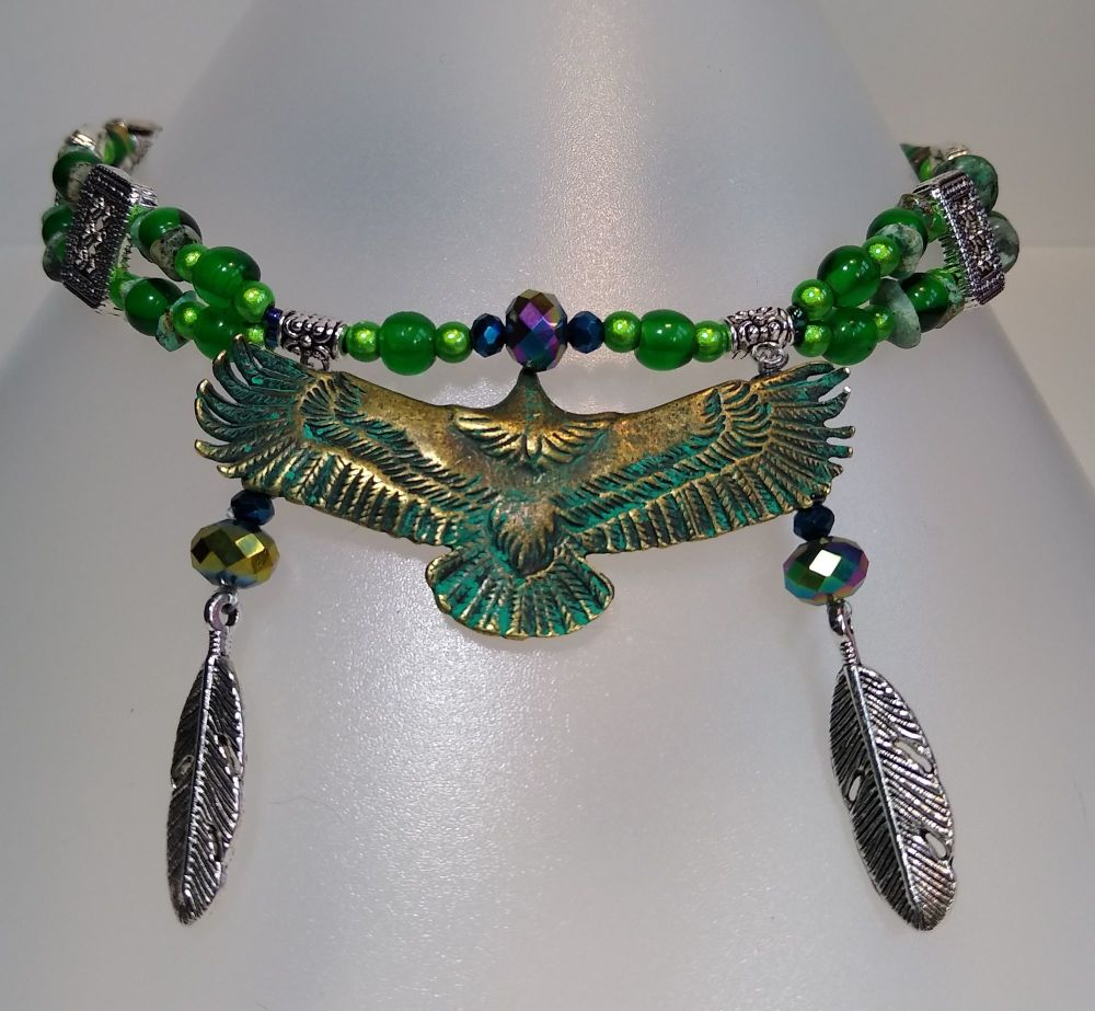 BROWBAND - Friendship and Love. Eagle. Green Turquoise.