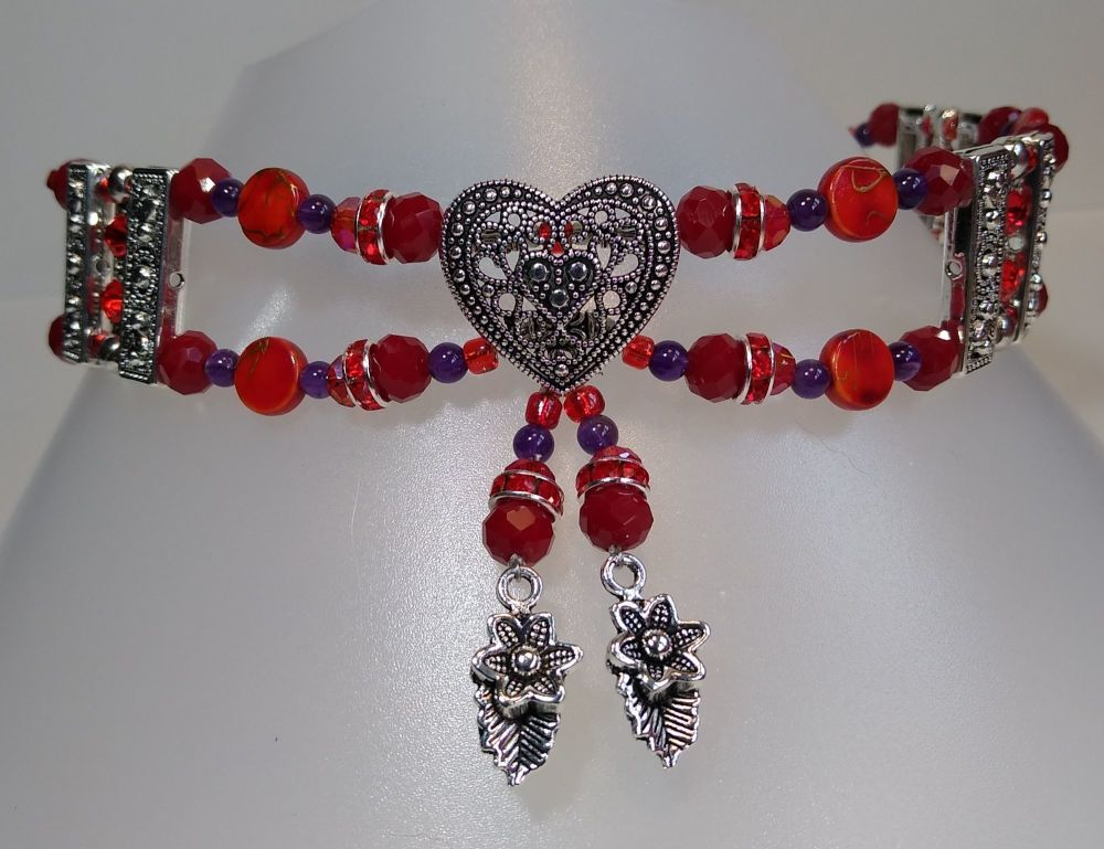 For Mind and Soul. Red Heart and Feathers. Sparkly Rhinestones and Amethyst