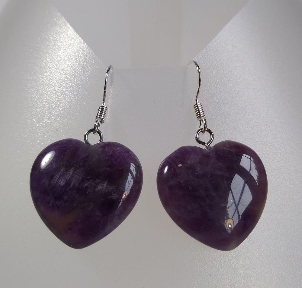 Inner Peace. Amethyst Heart Earrings.