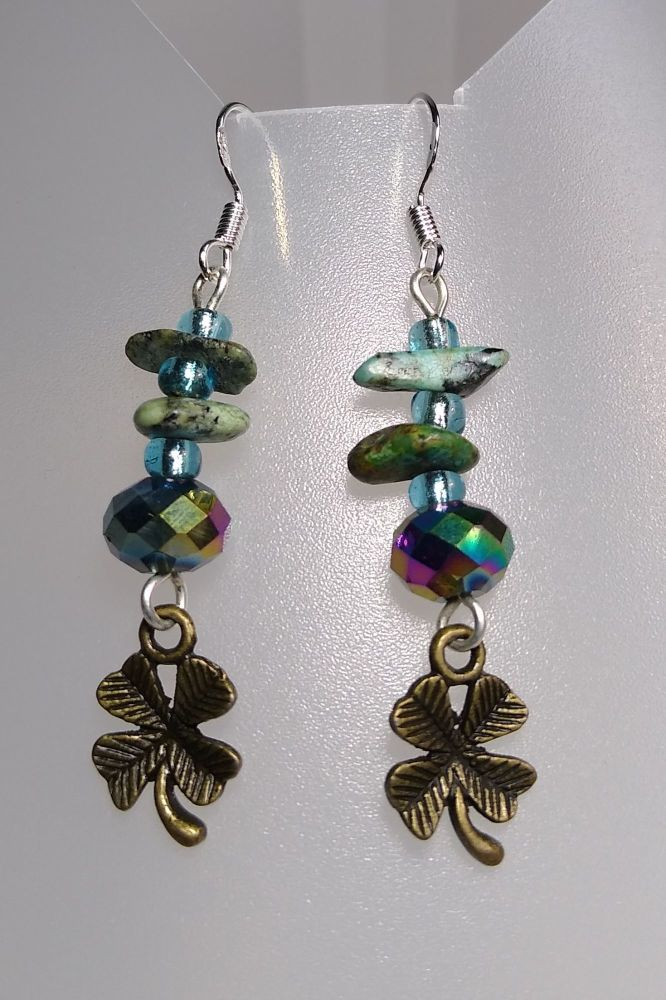 Lucky Clovers Green Turquoise Earrings