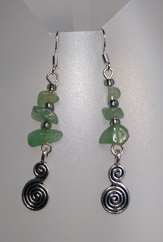 Calm Spiral Green Aventurine Earrings