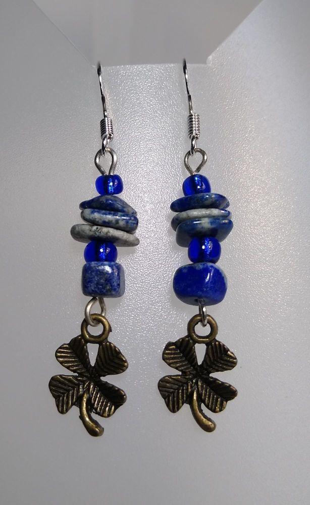 Lucky Clovers Lapis Lazuli Earrings