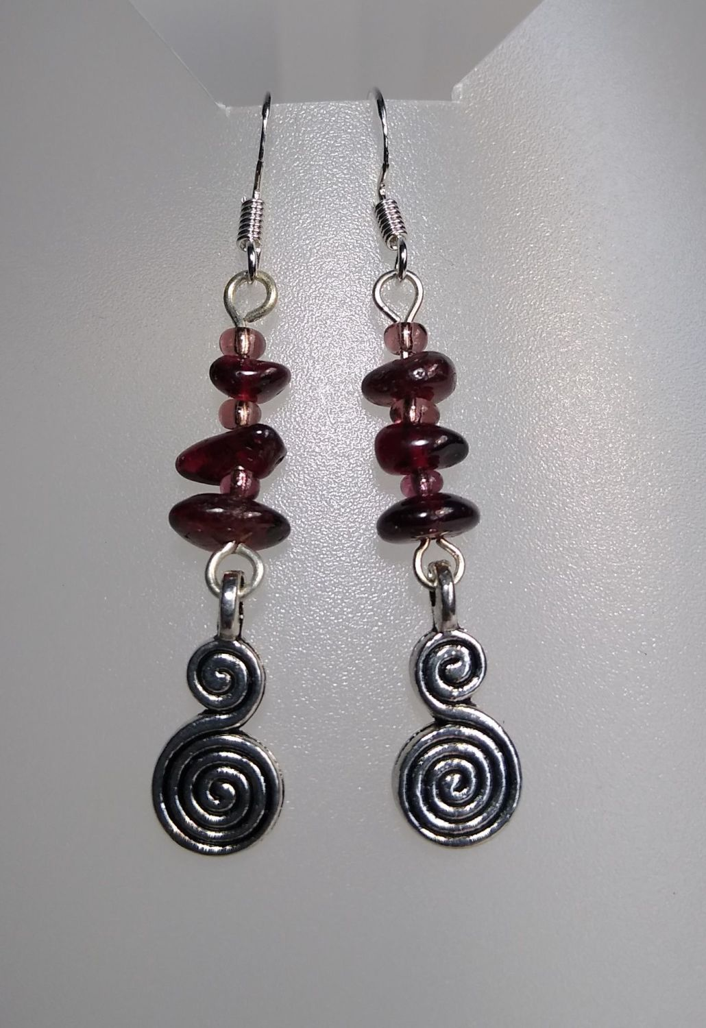 Passion and Serenity. Garnet Spiral Earrings