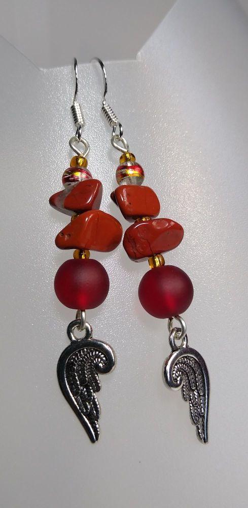 Empowerment. Red Jasper Angel Wings Earrings