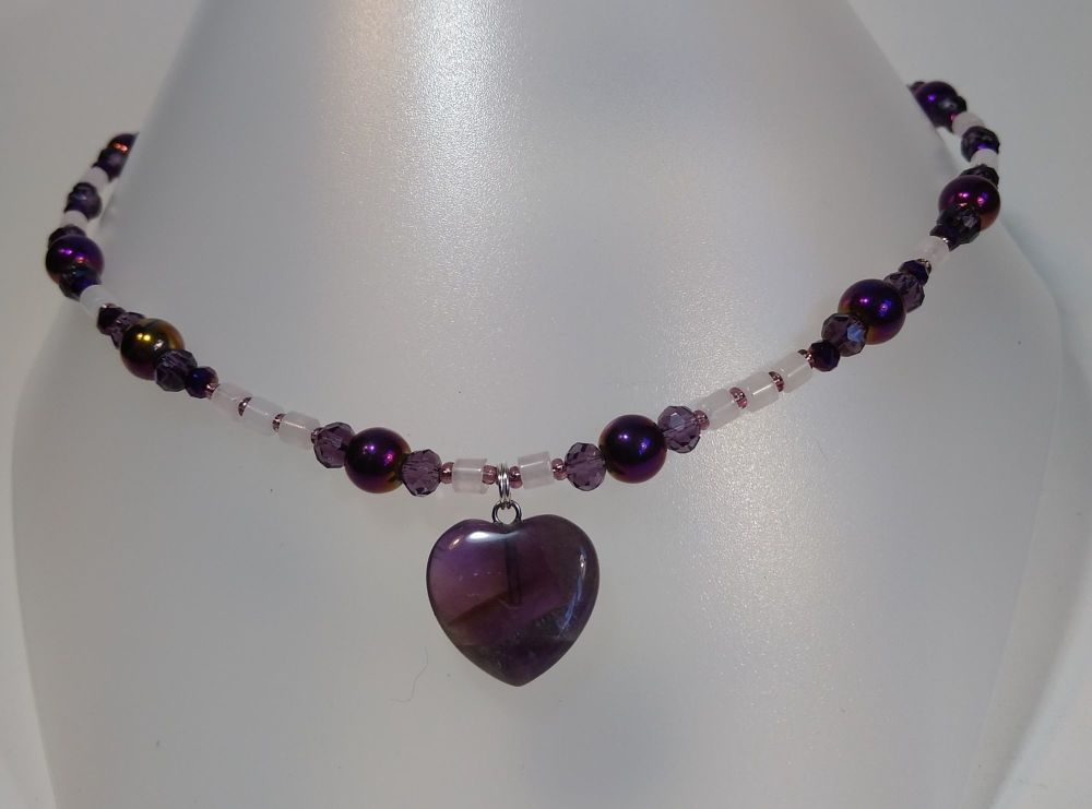 Necklace. For Love. Amethyst Heart and Rose Quartz beads.