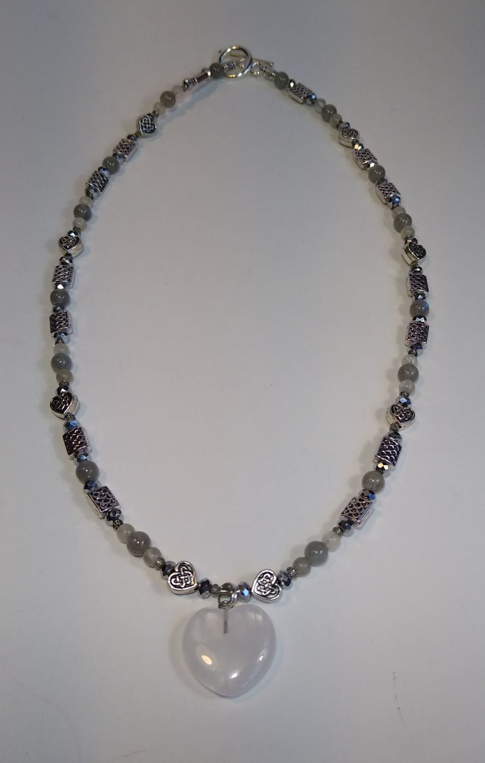 Necklace. Moonstone Heart and Labradorite Beads.