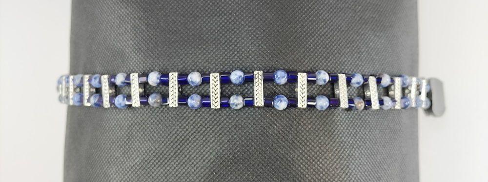 Browband - Joy and Peace. Blue Sodalite. Cob Size.