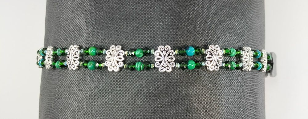 Browband - Clarity and Serenity. Chrysocolla and Malachite. Full Size.